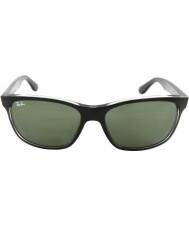 RayBan Rb4181 57 highstreet toppen matt sort på trasp grå 6130 solbriller