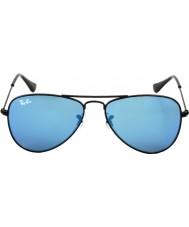 RayBan Junior Rj9506s 50 aviator mattsvarte 201-55 blå speil solbriller