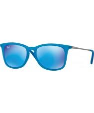 RayBan Junior Rj9063s 48 asurblå fluo gjennomsiktig gummi 701155 speil solbriller