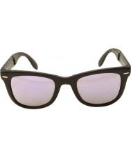 RayBan Rb4105 50 folding wayfarer matt svart 601s4k lilla speilet solbriller