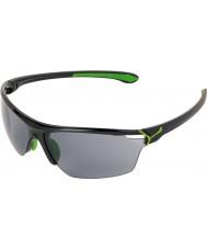 Cebe Cinetik store skinnende sorte grønne solbriller
