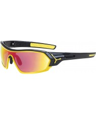 Cebe S-utskrifts skinnende sorte gule solbriller