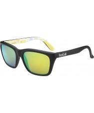 Bolle 527 retro samling matt svart grafikk polarisert brun smaragd solbriller
