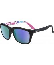 Bolle 527 retro samling matt svart grafikk polarisert blå-fiolett solbriller