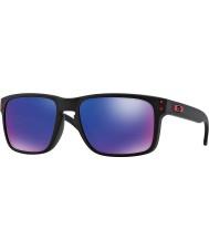 Oakley Oo9102-36 Holbrook matt sort - rød iridium solbriller