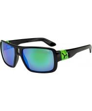 Cebe Lam skinnende svart grønne solbriller