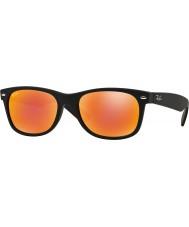 RayBan Rb2132 52 nye wayfarer gummi svart 622-69 røde speil solbriller