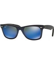 RayBan RB2140 50 originale Wayfarer blå gradient på lyseblå 120368 blå speil solbriller
