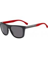 HUGO BOSS Mens sjefen 0834-s HWS 3t mørkegrå røde polariserte solbriller