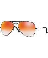 RayBan RB3025 55 aviator store metall skinnende svart 002-4w røde speil solbriller