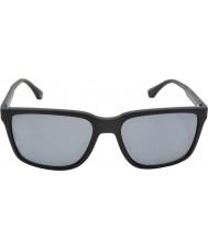 Emporio Armani Ea4047 56 moderne svart gummi 506381 polariserte solbriller