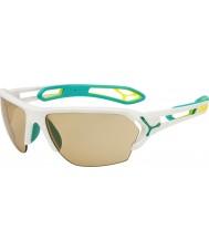 Cebe S-track stor matt hvit turkis variochrom PERFO solbriller med 500 klar erstatning linse