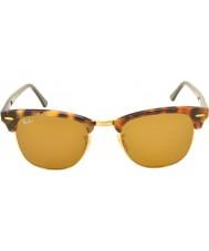 RayBan Rb3016 51 clubmaster flekket brun havana 1160 solbriller