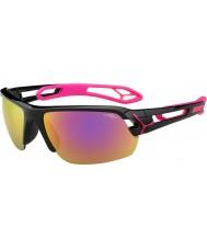 Cebe S-track medium skinnende svart magenta 1500 grå speil rosa solbriller med klart erstatning linse