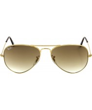 RayBan RB3025 58 aviator store metall gull 001-51 solbriller